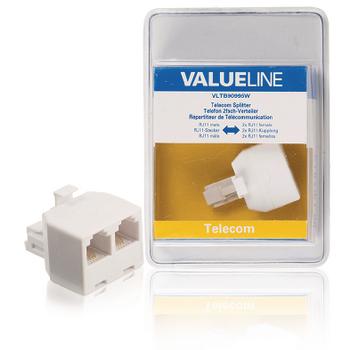 VLTB90995W Telecom-adapter rj11 (4/6) male - 2x rj11 (4/6) female wit