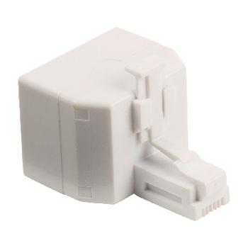 VLTB90995W Telecom-adapter rj11 (4/6) male - 2x rj11 (4/6) female wit Product foto