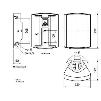 VS-WB16B Installatie luidspreker 100 v 8 ohm zwart In gebruik foto