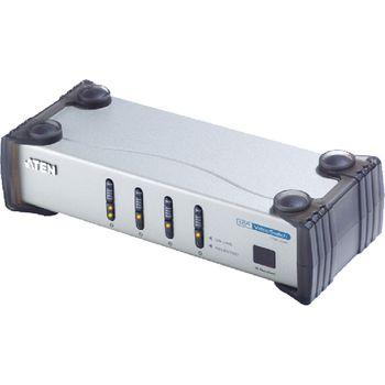 VS461-AT-G 4-poorts dvi schakelaar met audio-ondersteuning zilver