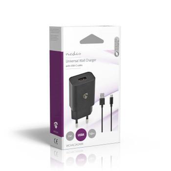 WCHAC242ABK Oplader | 1x 2,4 a | outputs: 1 | usb-a | usb type-c™ (los) kabel | 1.00 m | 12 w | enkele vol Verpakking foto