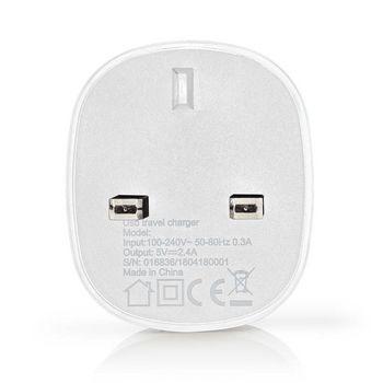 WCHAU240AWTUK Oplader   1x 2,4 a   outputs: 1   poorttype: 1x usb-a   geen kabel inbegrepen   12 w   enkele voltag Product foto