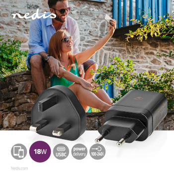 WCPD18WU102BK Oplader   pd3.0 18w   1,5 a / 2 a / 3,0 a   outputs: 1   usb-c™   18 w   automatische voltage  Product foto