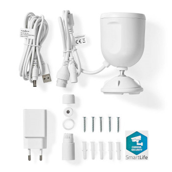 WIFICO50CWT Smartlife camera voor buiten | wi-fi | full hd 1080p | ip65 | cloud / microsd | 5,0 v dc | met beweg Inhoud verpakking foto
